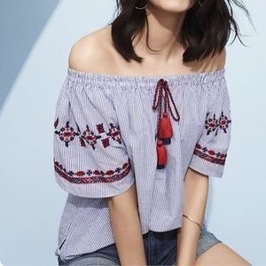 Ann Taylor Loft Off The Shoulder Boho Aztec Top